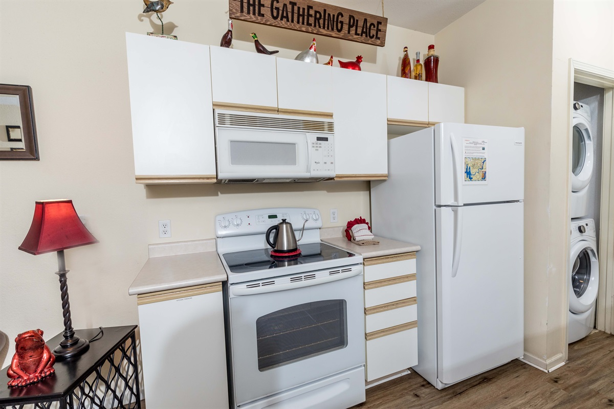 The full kitchen lets you make your own homecooked meals for healthier eating!