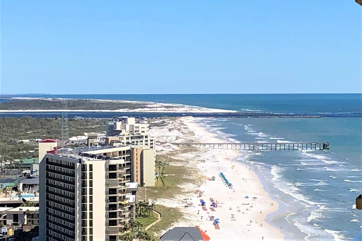 Views east down the beach