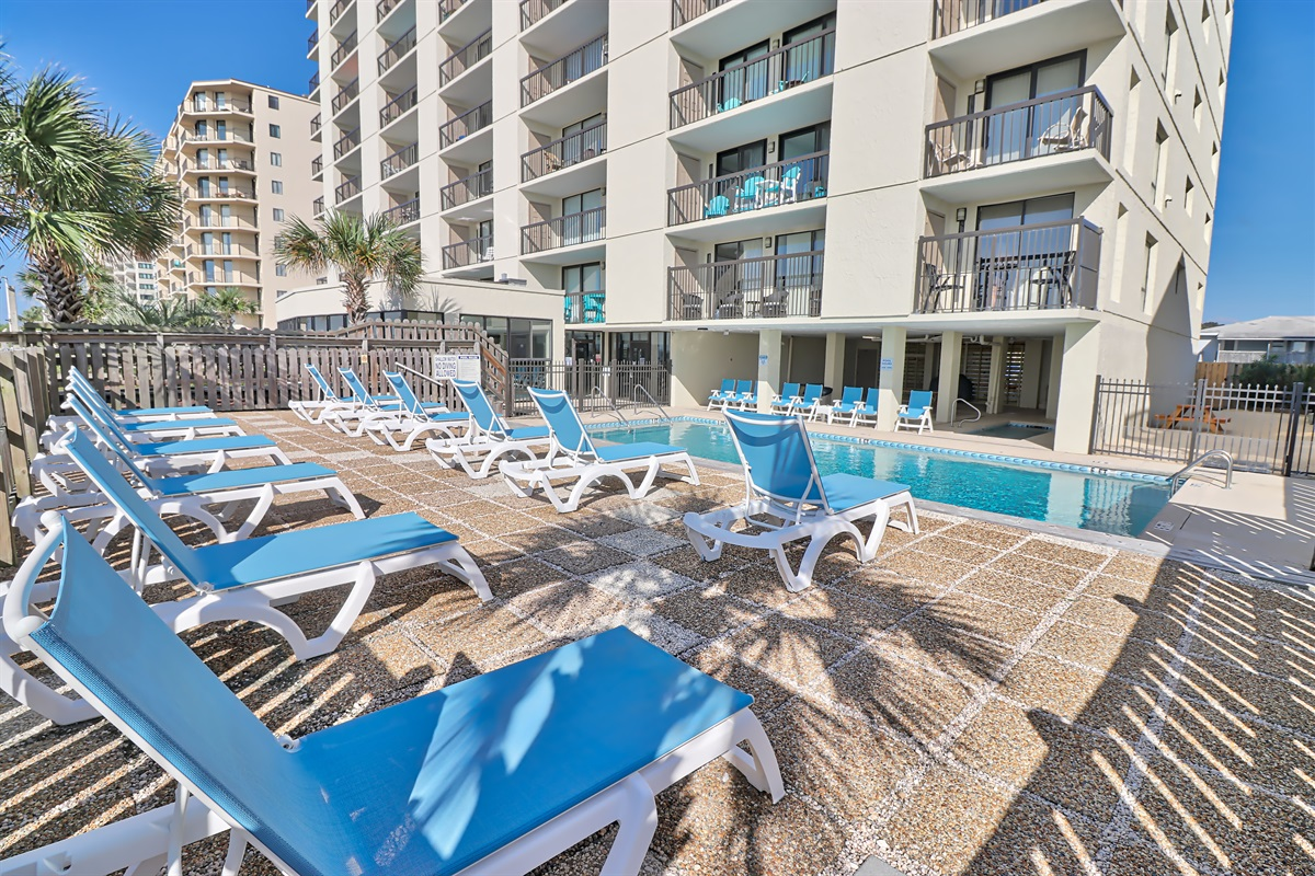 Renovated Outdoor Pool area with new furniture