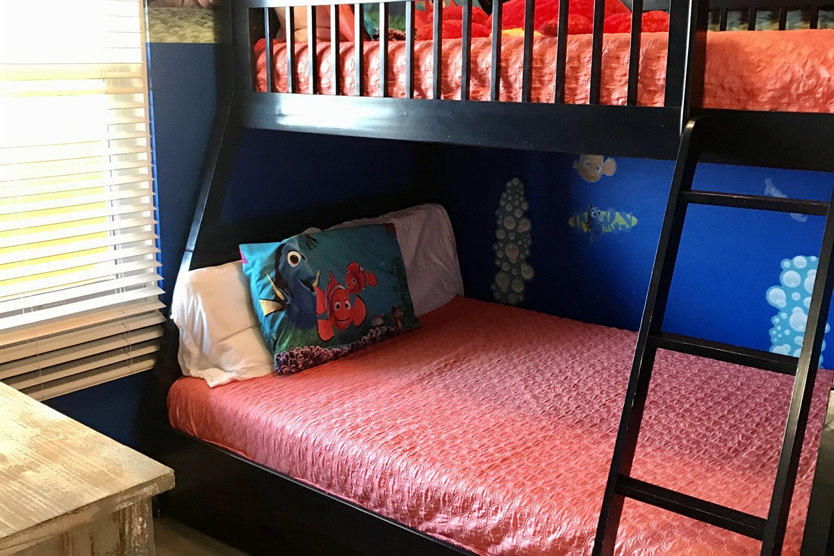 3rd bedroom with twin over full bunk bed