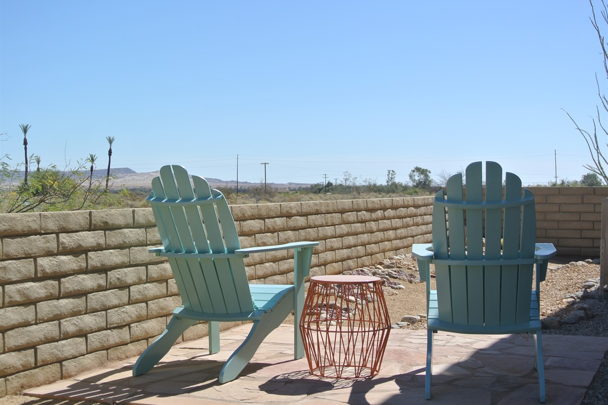 East facing patio with views of Font's Point