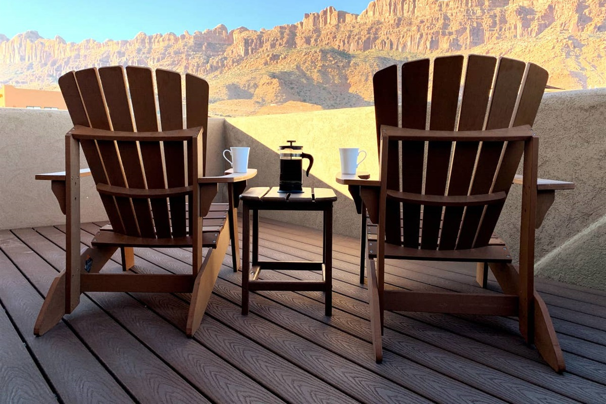 Enjoy Morning Coffee and Red Rock Views