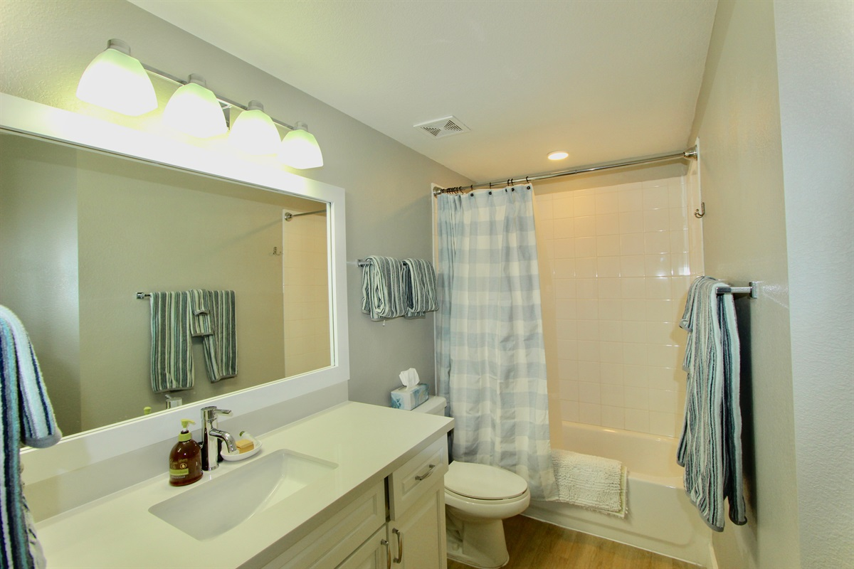 Guest bathroom with Tub/Shower.