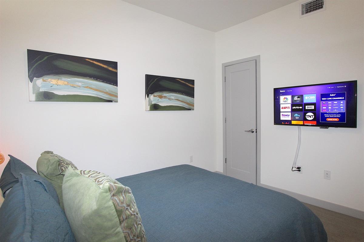 Flatscreen TV with ROKU streaming.