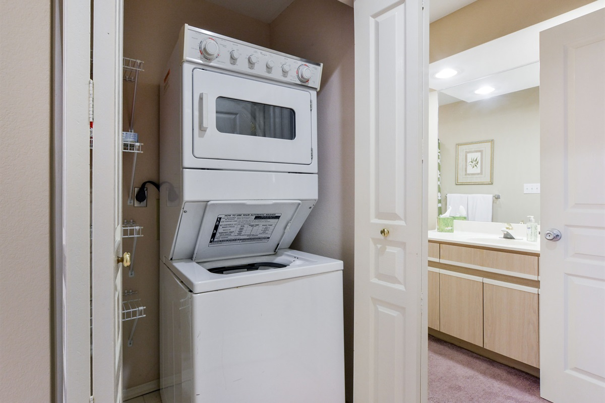 A complimentary washer and dryer with detergent is available for your use