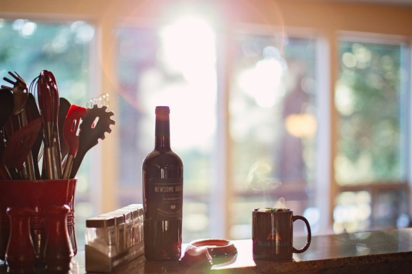 coffee, wine, top of the line cooking gear & amazing forest view