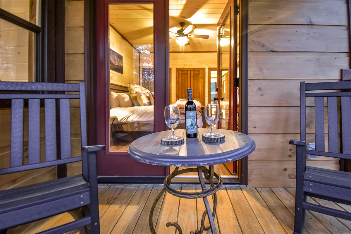 Enjoy a romantic evening for 2 on the private balcony.