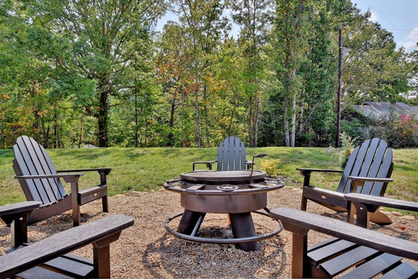 The fire pit is a great gathering place for a family cookout or roasting marshmallows