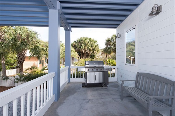Back Porch with large Weber natural gas grill