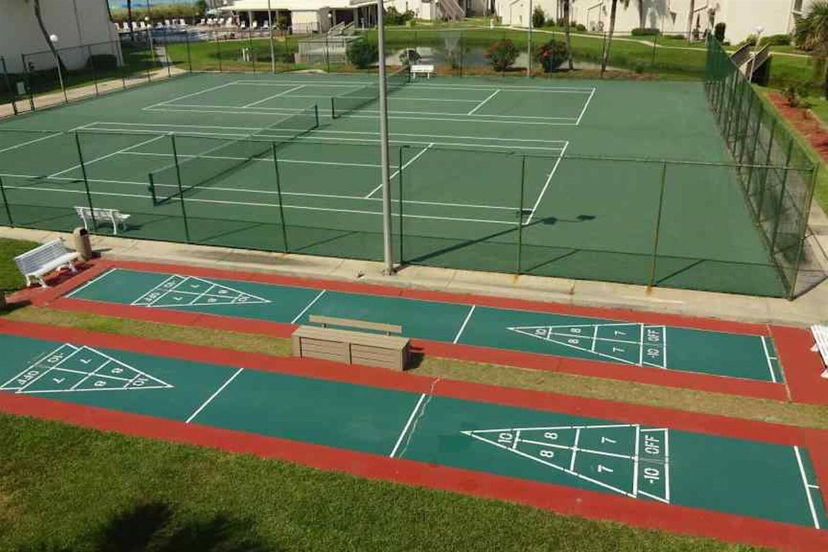 Shuffleboard and lighted tennis courts