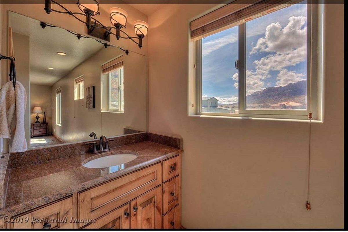 Master bath with red rock views