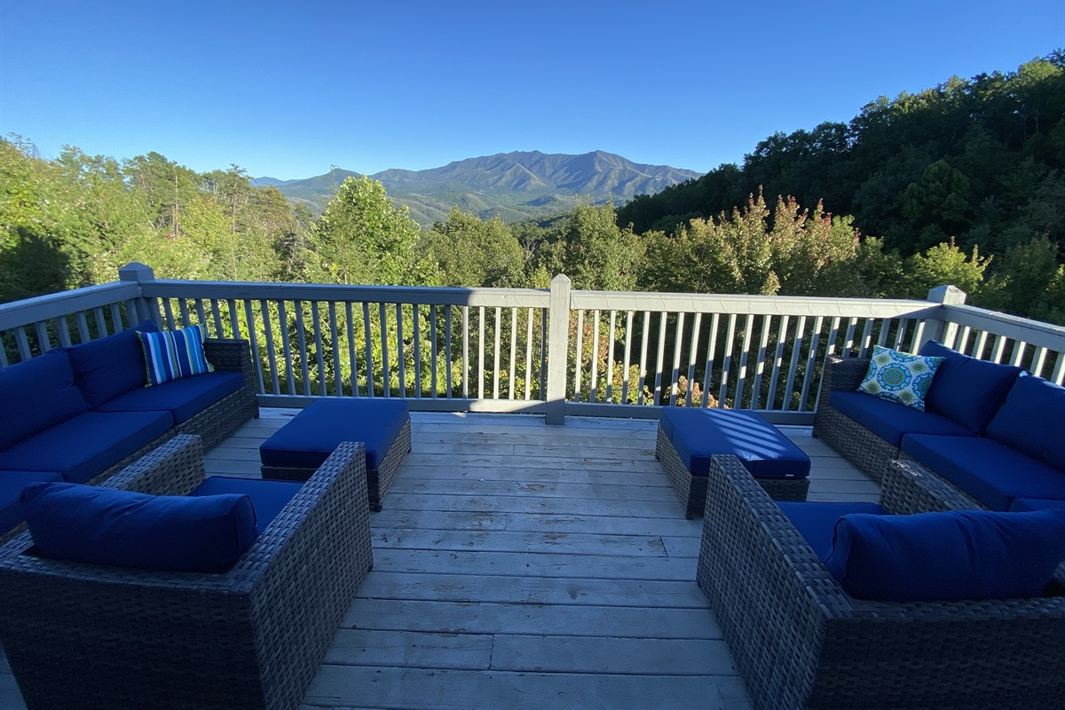 Mt. LeConte from the upper deckwith comfortable deck furniture
