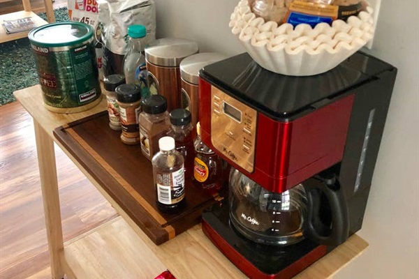 COFFEE:  Basic coffee included: - coffee pot - coffee filters - coffee grounds - coffee beans - decaf coffee grounds - sweeteners