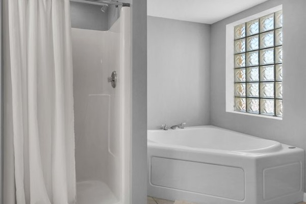 Master en-suite bathroom with walk-in shower and jacuzzi tub