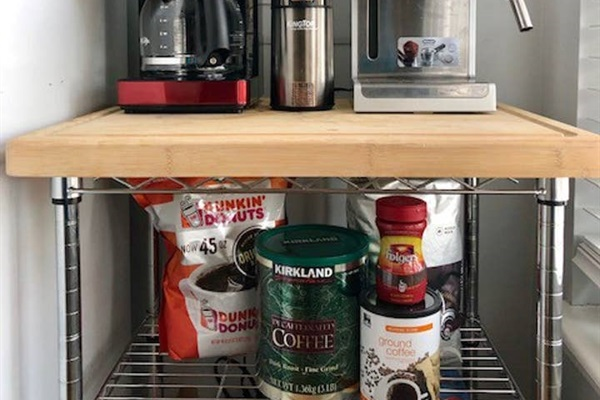 COFFEE INCLUDED:  - coffee maker - coffee filters - coffee grounds - decaf coffee grounds - coffee sweeteners - french press - coffee beans - coffee grinder - instant hot water pot - expresso maker