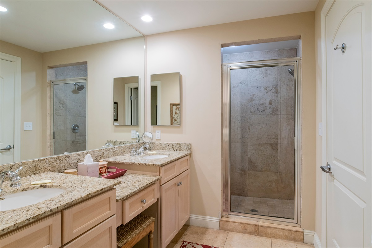 Master bath has walk-in shower, double vanities and water closet