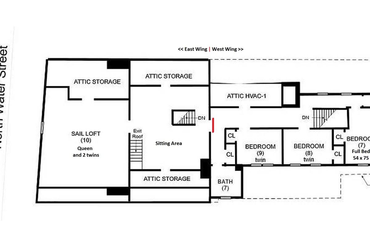 3rd Floor Plan showing East & West Wings