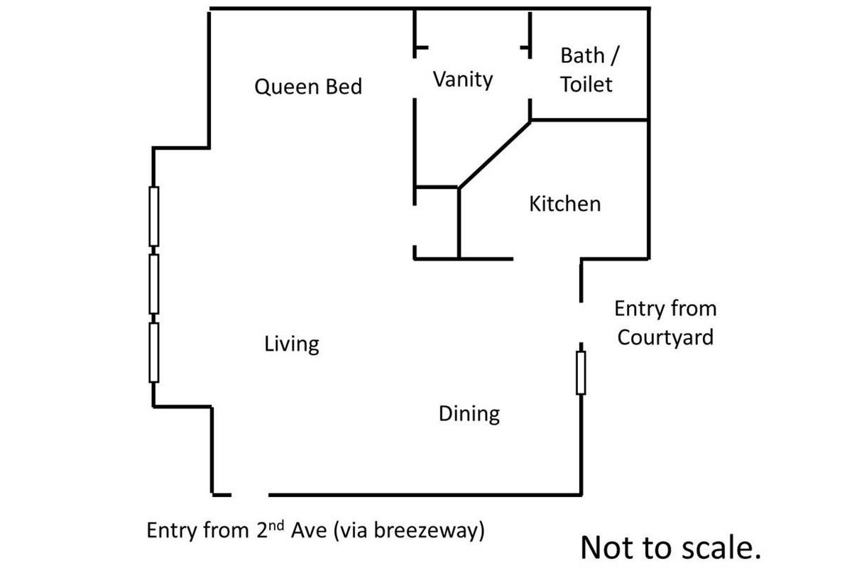 FLOOR PLAN   (not to scale, but this is shows the open studio floor plan)
