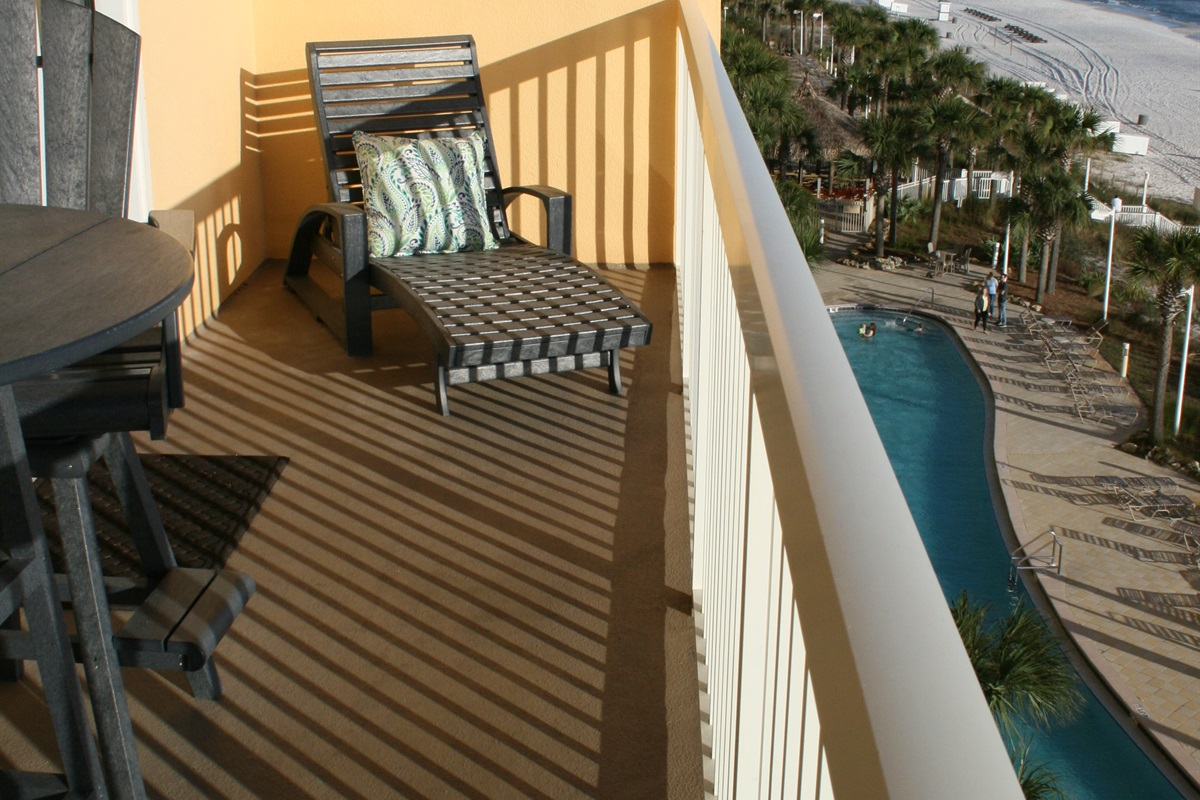 Chase Lounge on Balcony overlooking Lagoon Pool