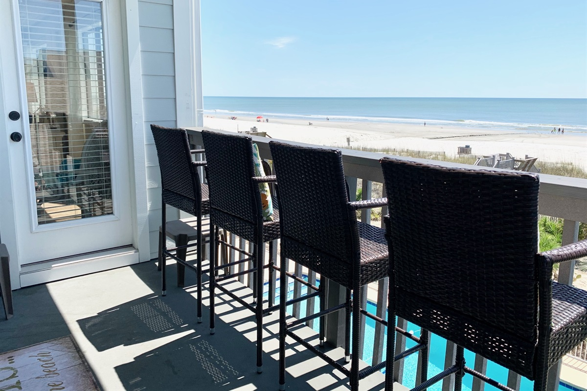 Both bar height and shorter chair options on balcony