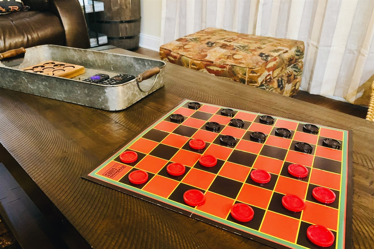 Relax with some board games - who's up for a game of checkers?