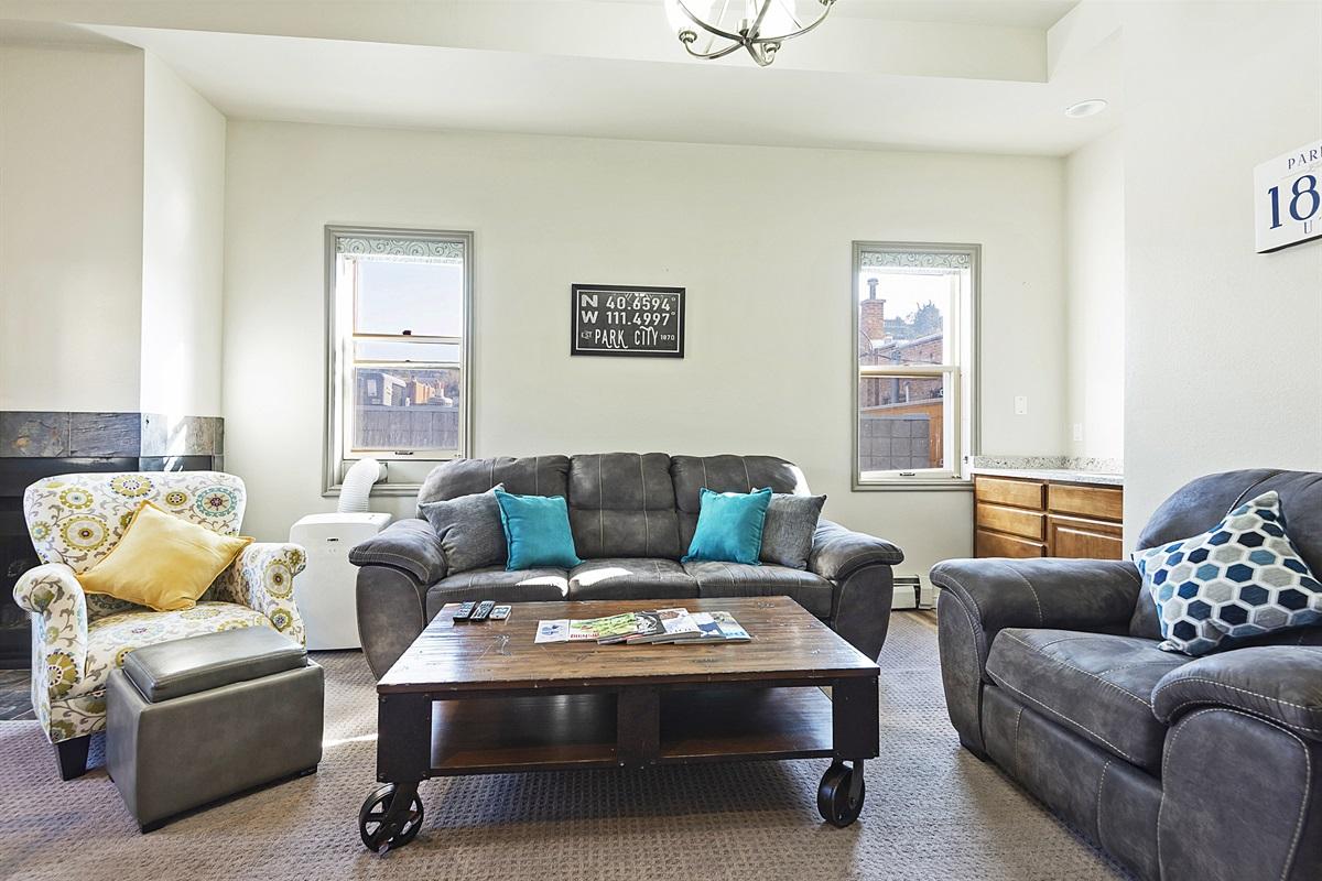 Living area, sleeper sofa, TV, fireplace, wet bar