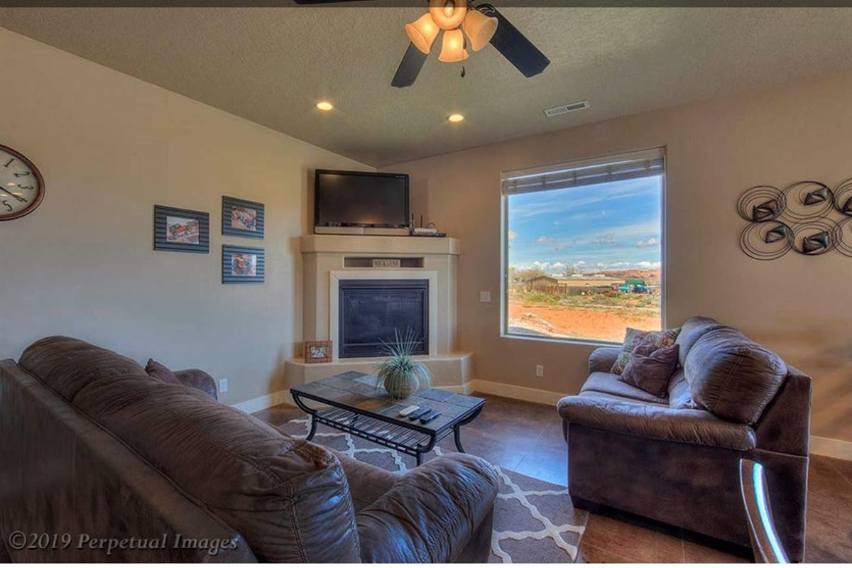 Large picture window with red rock view