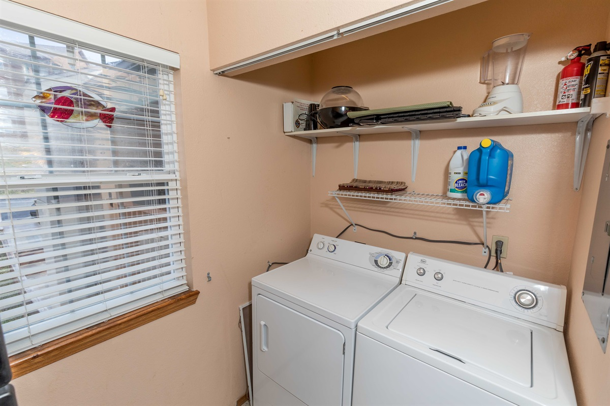 A full-size washer and dryer lets you stay fresh!