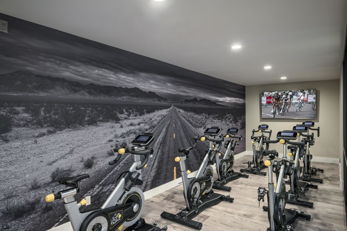 Spinning room and 24 hour fitness center