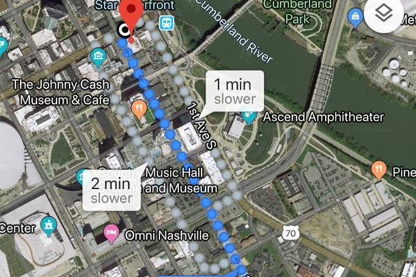 Straight walk to the Honky tonks:  walk on 2nd Ave to lower Broadway from the condo ... 6/10 of mile,  12 minute walk. (mapped to  Rock Bottom Brewery corner of  Broadway & 2nd Ave from the property.)