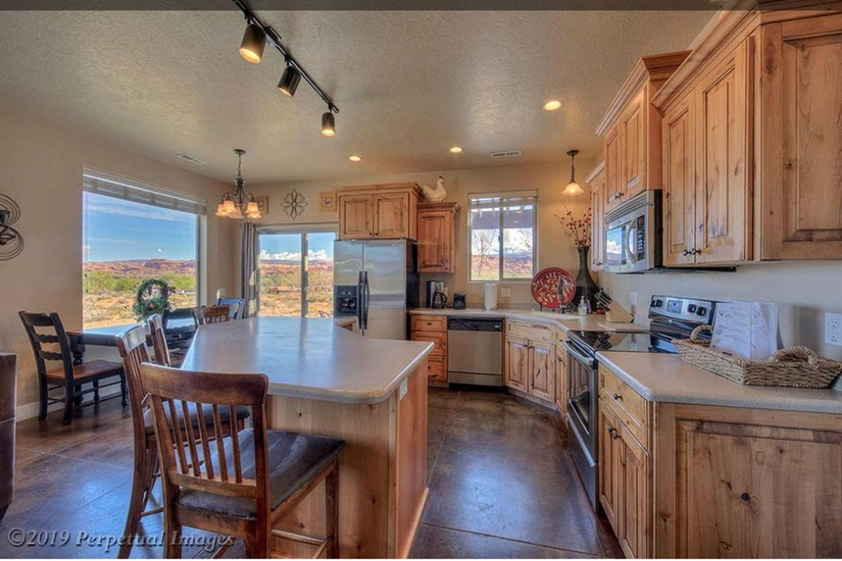 Kitchen island with seating for four