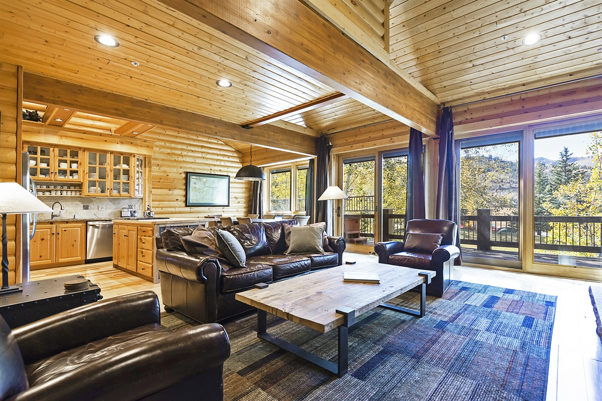 Living area - open to private deck, kitchen, dining