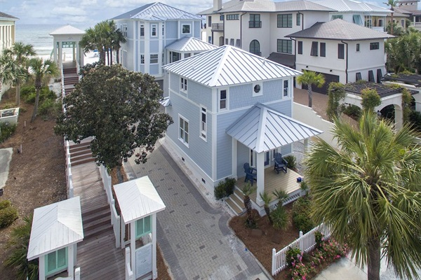 Drone view of Generations Beach House with Cottage