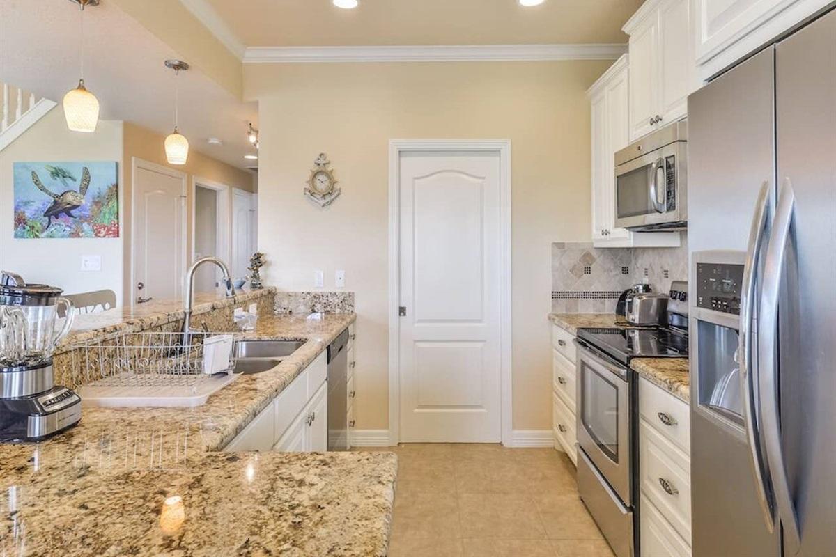 Kitchen Offers Beautiful Granite Countertops