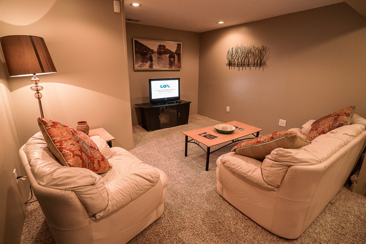 Basement Suite Living Room with TV