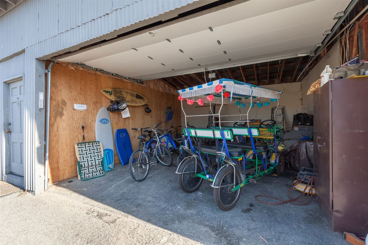 surrey, bikes and beach gear shed