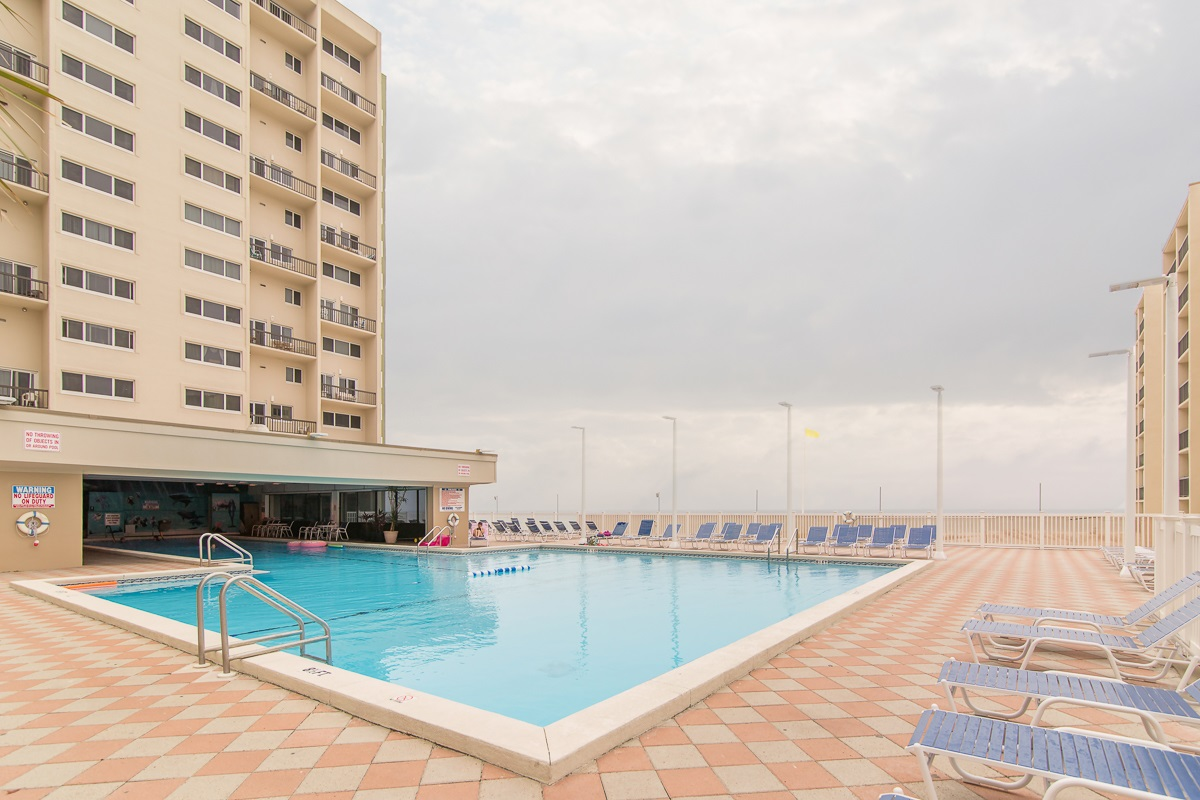 One of two outdoor pools