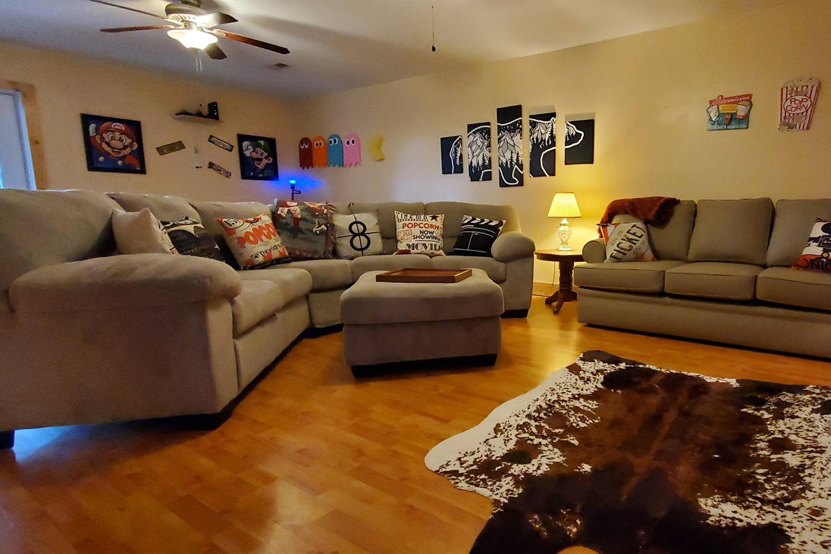 Game/movie room with sleeper queen sofa