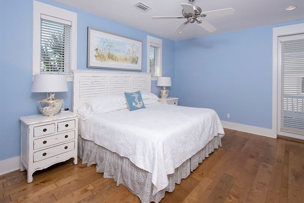 2nd Floor Master King Bedroom with Private Bath and access to Balcony