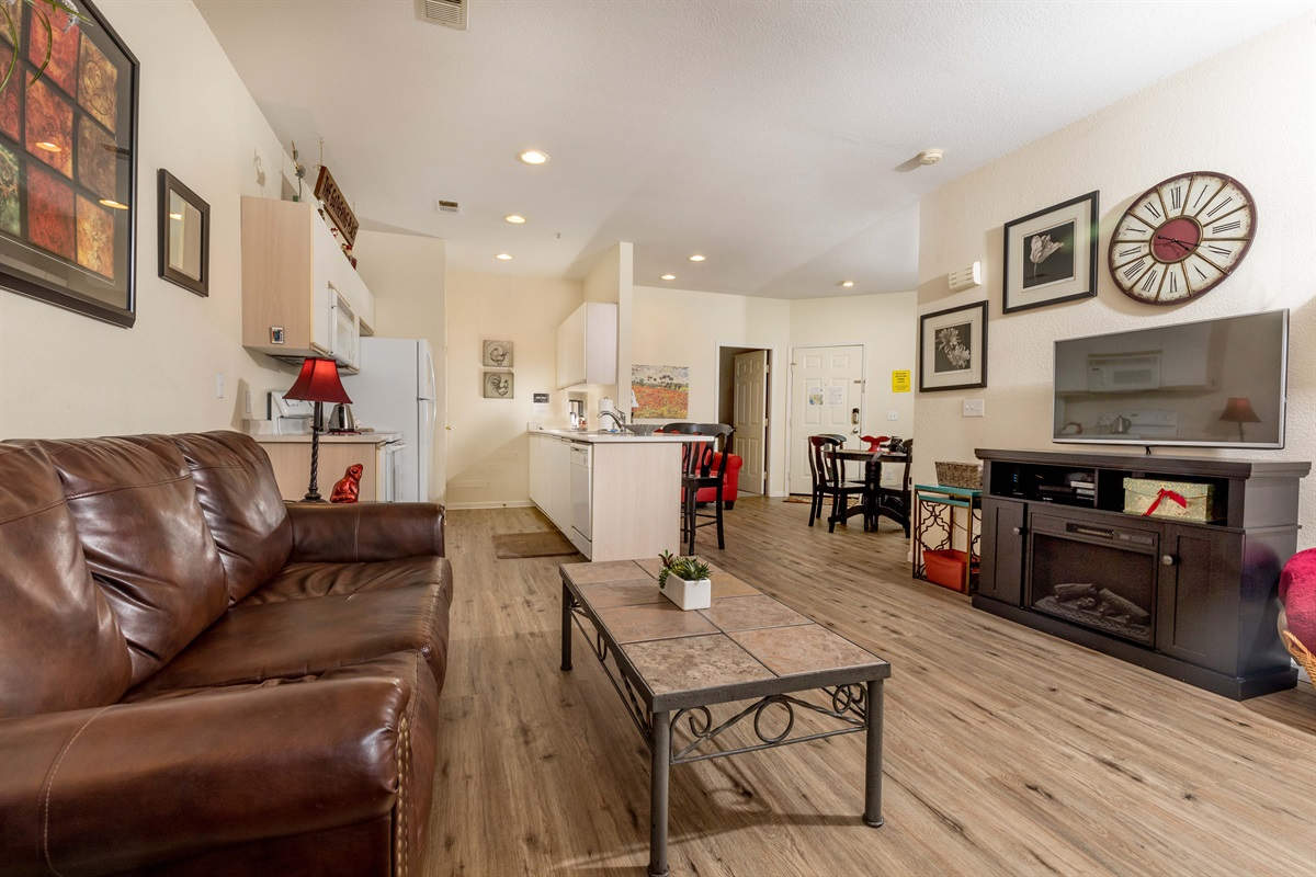 Spread out in our spacious living room with lots of seating!