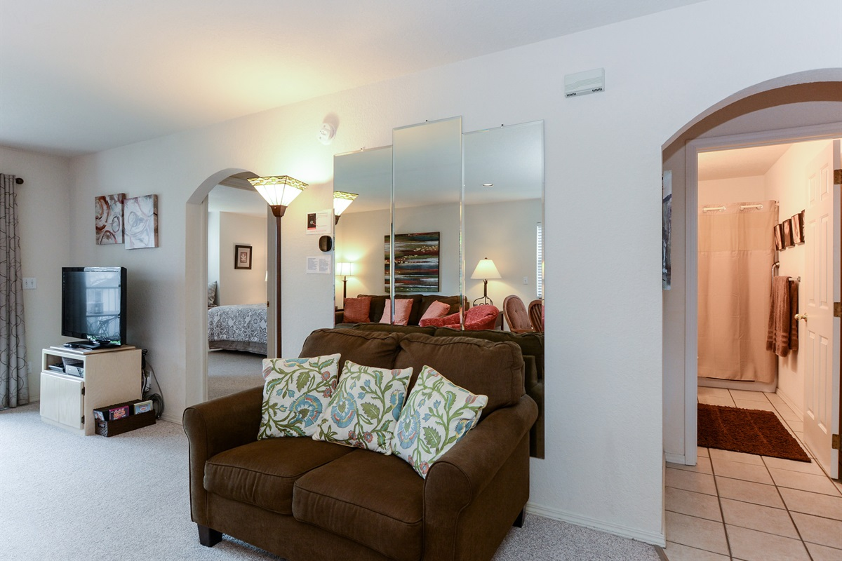 The split floor plan allows privacy, and a sleeper loveseat adds an extra bed!