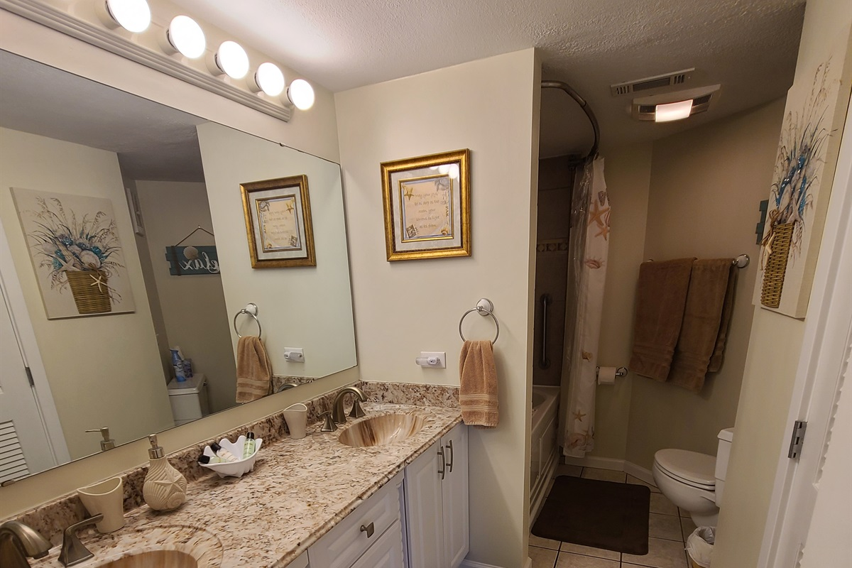 Master Bathroom With Marble Top, Faucets and Vanity.