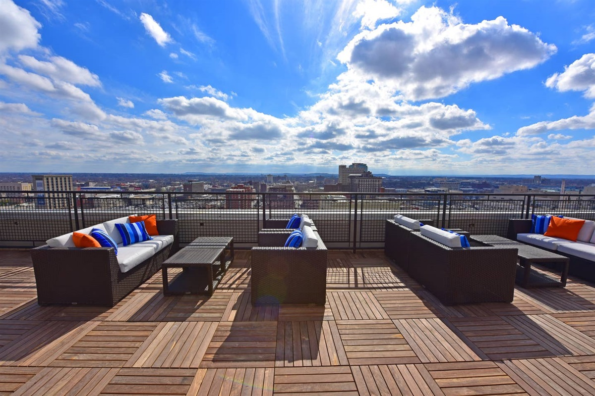 Enjoy the views from the Rooftop deck.