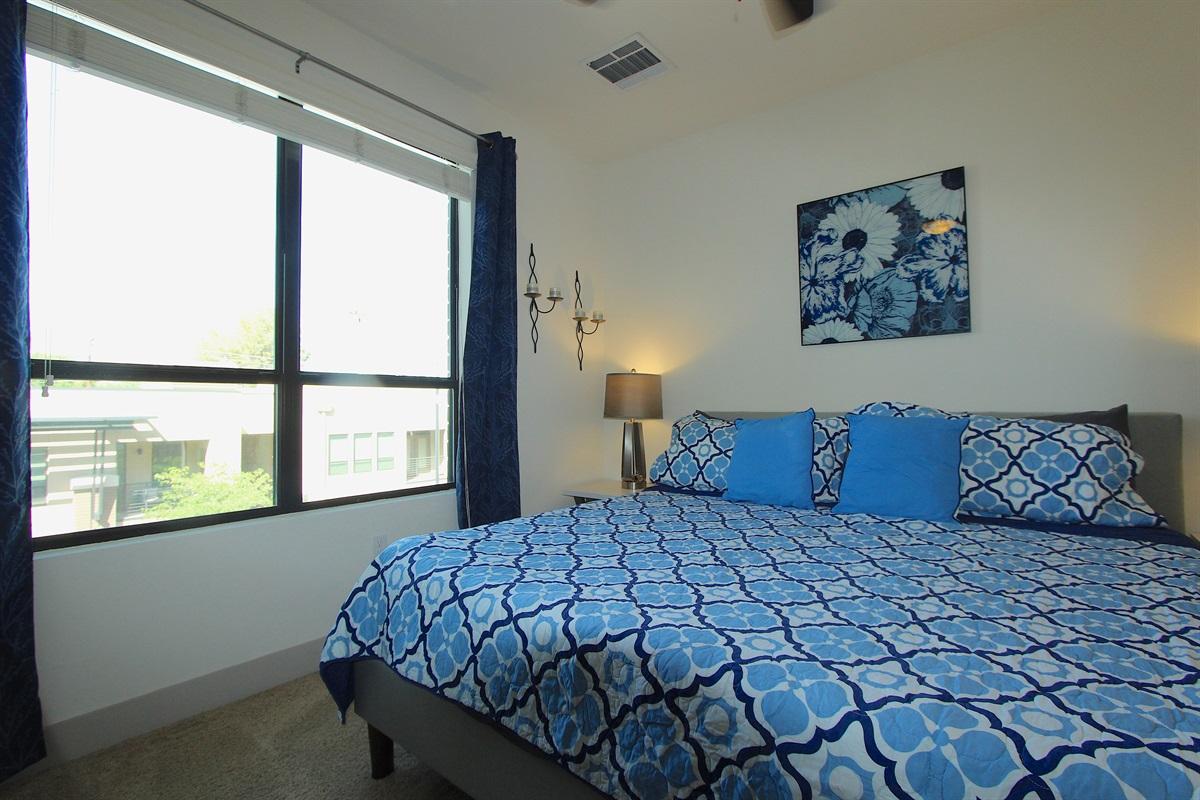 Master bedroom has mountain views.
