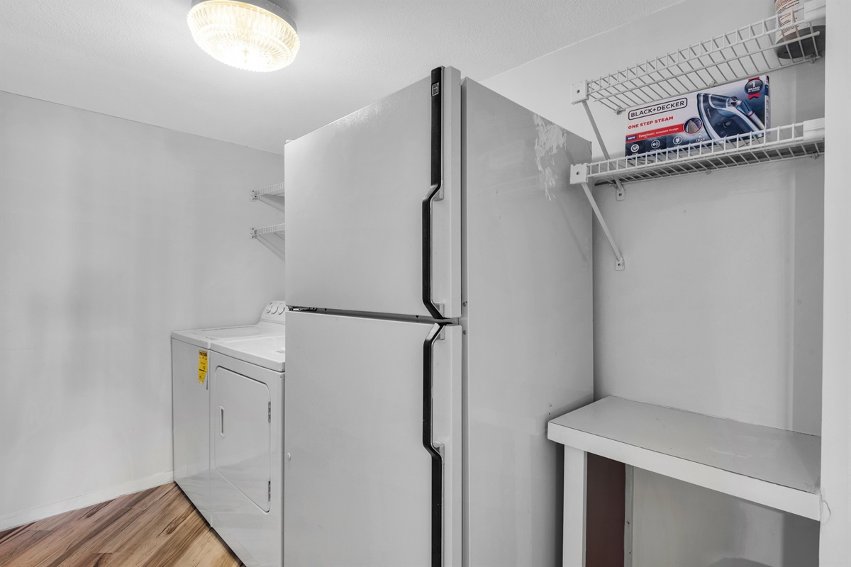 Laundry Room: Washer, Dryer, Refridgerator