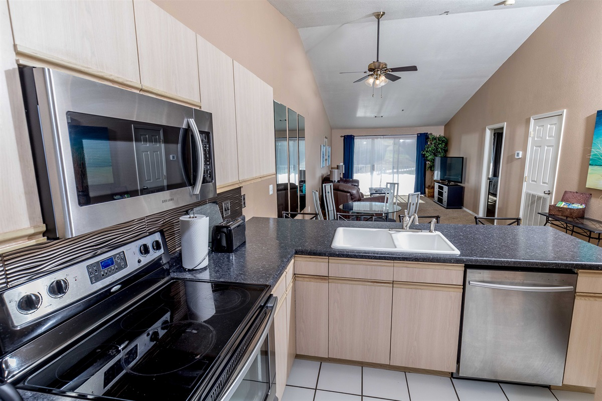 With a full kitchen, expansive living room area, and two bedrooms, there's no place like home!