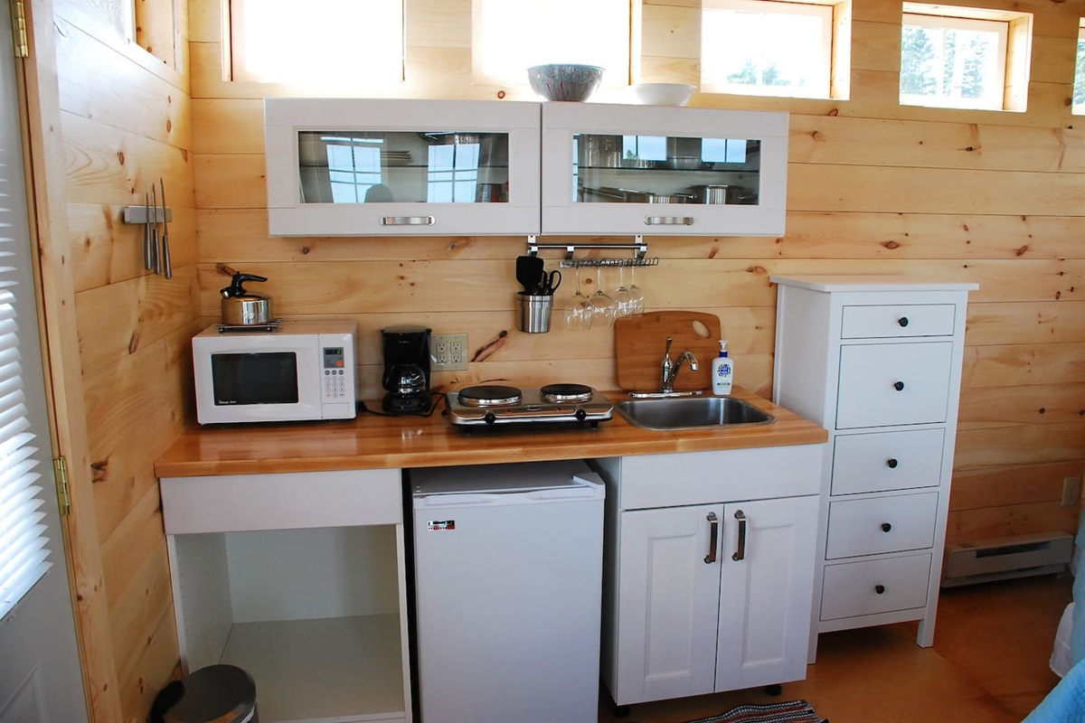 The modern, compact galley style kitchen.