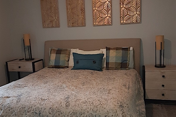 Master Bedroom with Comfy King Mattress.