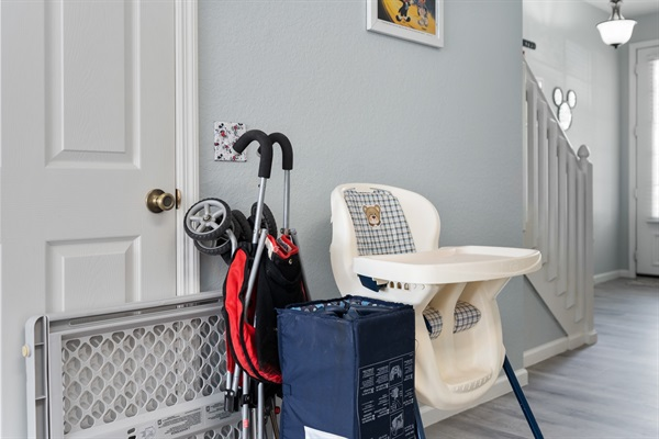 High chair, pack and play, stroller, and child gate for the little Mickey and Minnies!