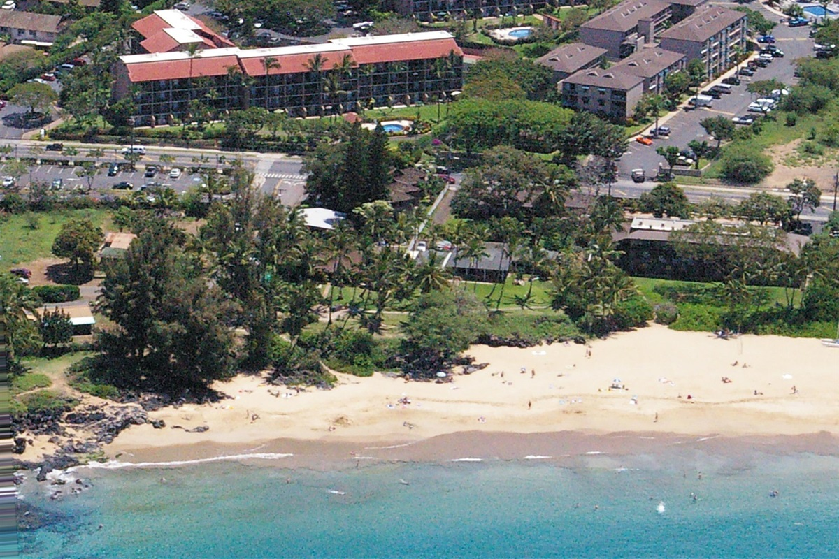 The resort is shown across from the beach